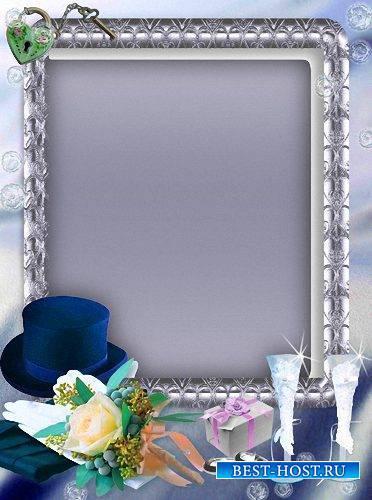 Рамка photoshop - Два бокала, два кольца
