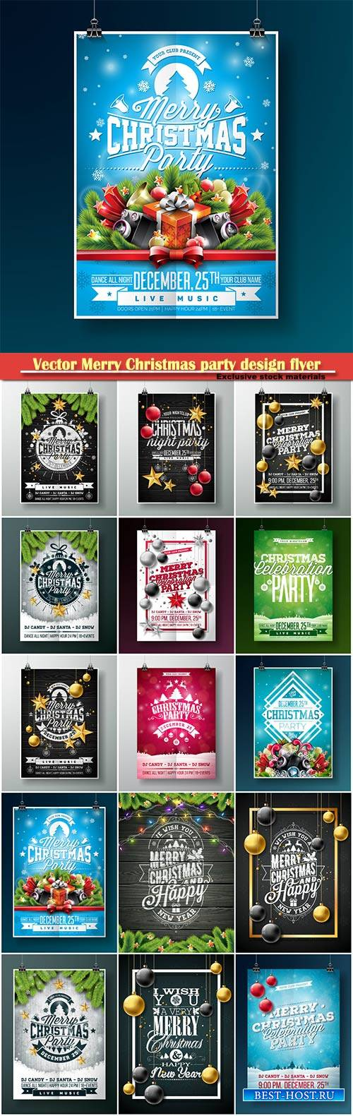Vector Merry Christmas party design flyer with holiday elements