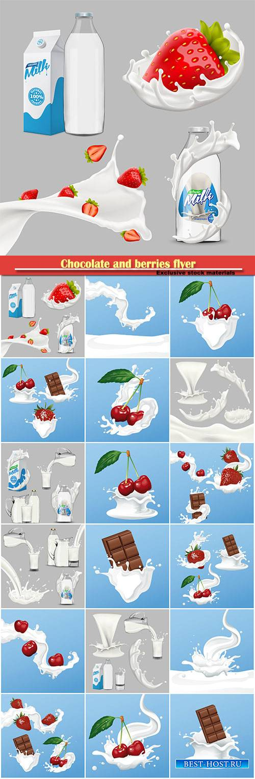 Chocolate and berries flyer, whole milk big set, pouring and splashing 3d vector, diary product design elements
