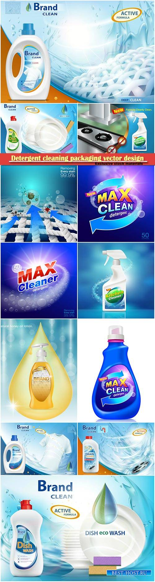 Detergent cleaning packaging vector design