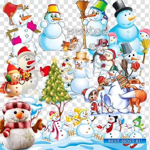 Он не мал и не велик, снежно белый снеговик - клипарт без фона