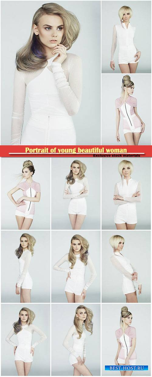 Portrait of young beautiful woman, charming blondes