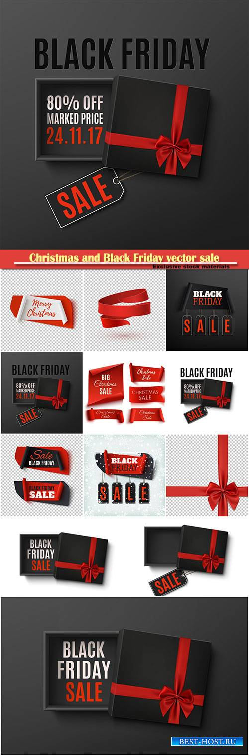 Christmas and Black Friday vector sale, set of five red, paper banners, abs ...