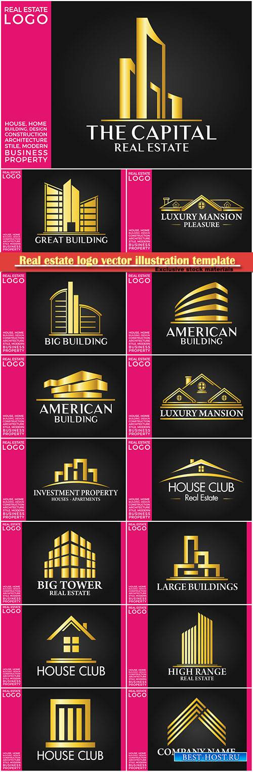 Real estate logo vector illustration template