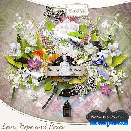 Цветочный скрап-набор - Любовь, надежда и мир