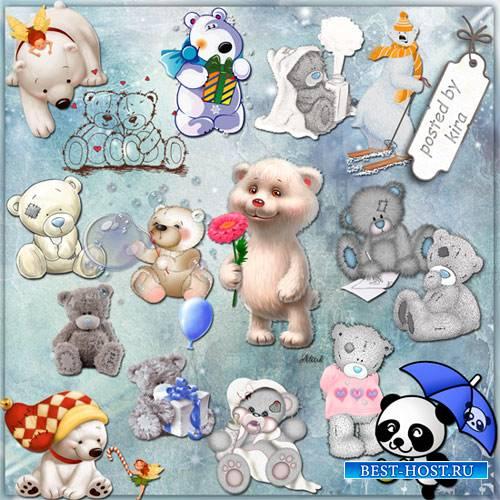 Клипарт - Белые медвежата и мишки Тедди