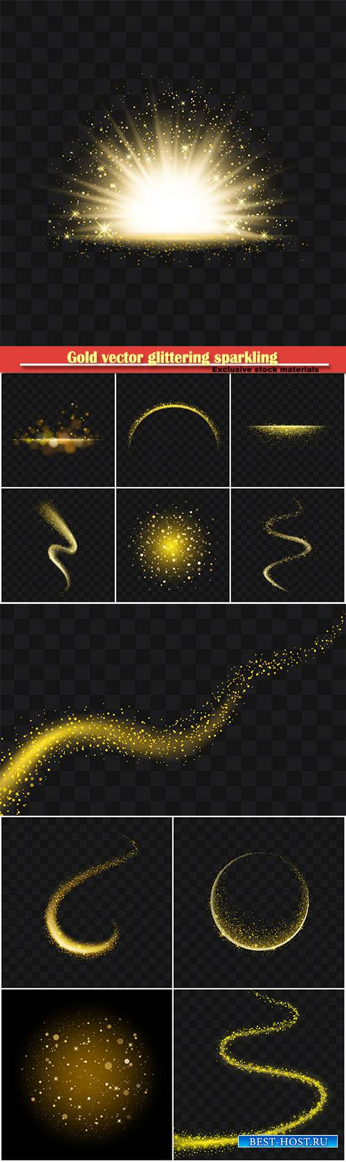 Gold vector glittering sparkling abstract particles on background