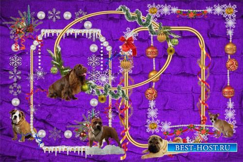 Клипарт Вырезы к Новому году Желтой Собаки