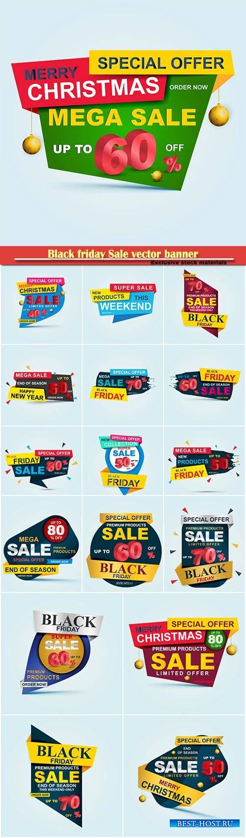 Black friday Sale vector banner, big sale template design