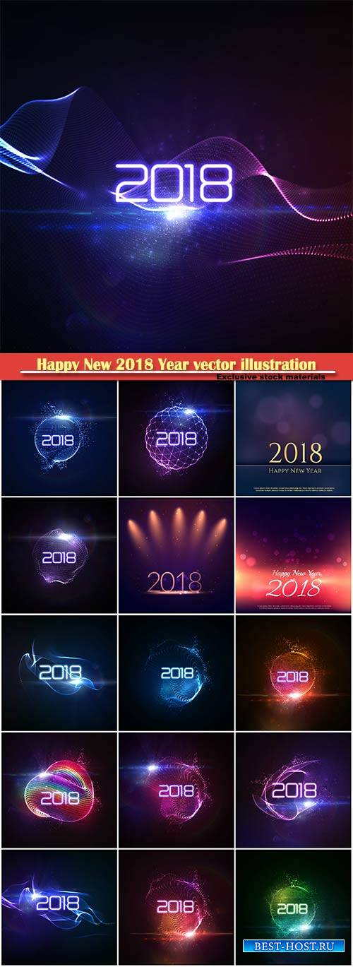 Happy New 2018 Year vector holiday illustration of glowing neon 2018 sign w ...