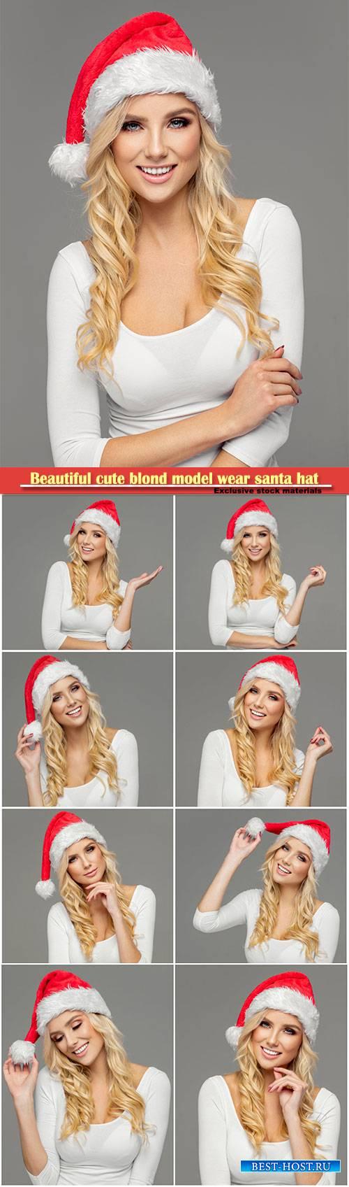 Beautiful cute blond model wear santa hat