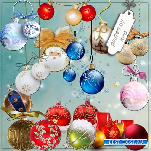 Новогодний клипарт - Елочные шары и шарики в png