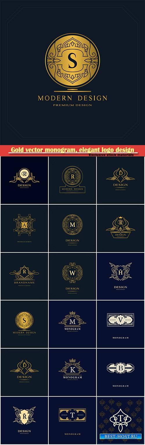 Gold vector monogram, elegant logo design