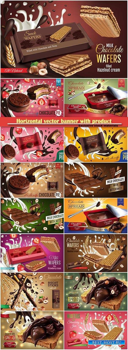 Horizontal vector banner with product, milk wafers with strawberry cream, m ...