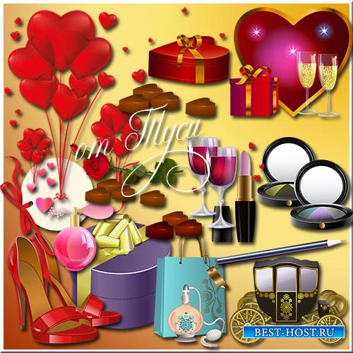 День святого Валентина  - это счастье и любовь - Клипарт