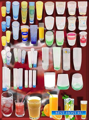 Клипарты для фотошопа - Стеклянные стаканы