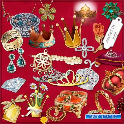 Клипарт - Короны, бусы, серьги, браслеты и другие драгоценности (кроме колец)