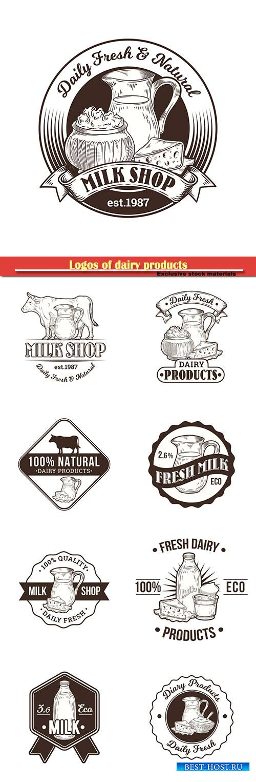 Logos of dairy products, fresh milk vector illustration