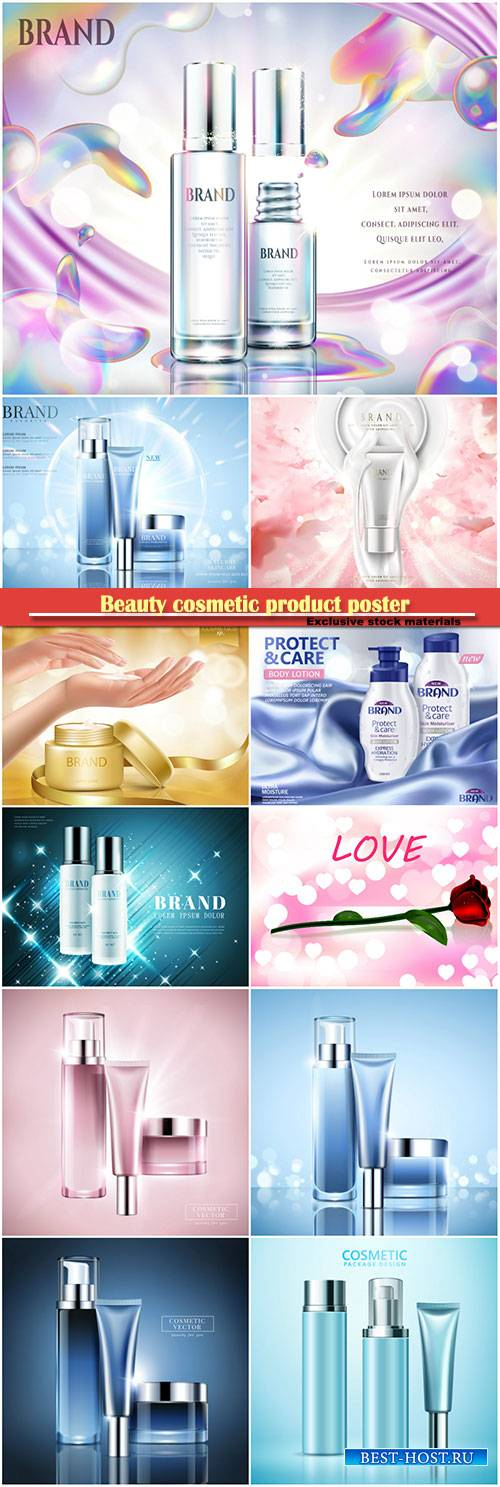 Beauty cosmetic product poster, body care product, background in 3d illustr ...