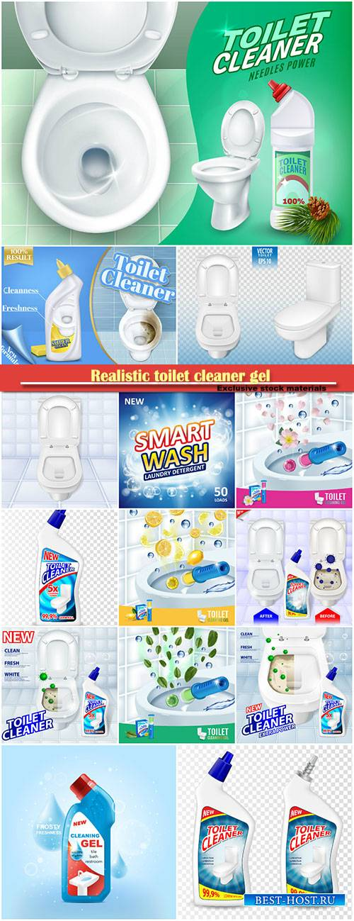 Realistic toilet cleaner gel plastic package in 3d vector illustration