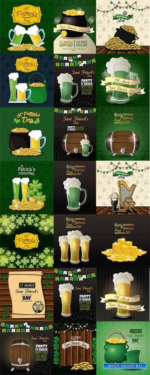 Saint Patricks Day cartoons card - Vector