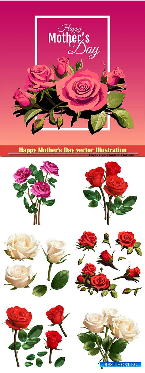 Happy Mother's Day vector Illustration, buautiful roses