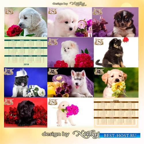 Карманные календарики с собачками на 2018 год  - Очаровательные четвероногие друзья поздравляют с 8 марта