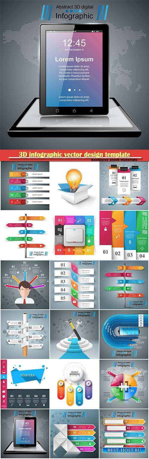 3D infographic vector design template and marketing icons