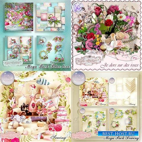 Scrap set - Sewing Bundle / Blue Love / I sleep on roses