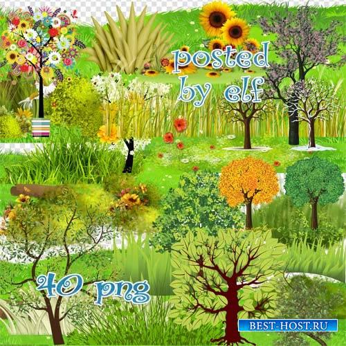 Клипарт - Деревья, трава, лужайки