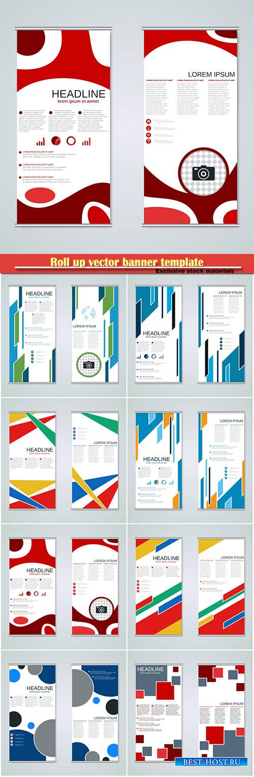 Roll up vector banner template, business vertical banner set