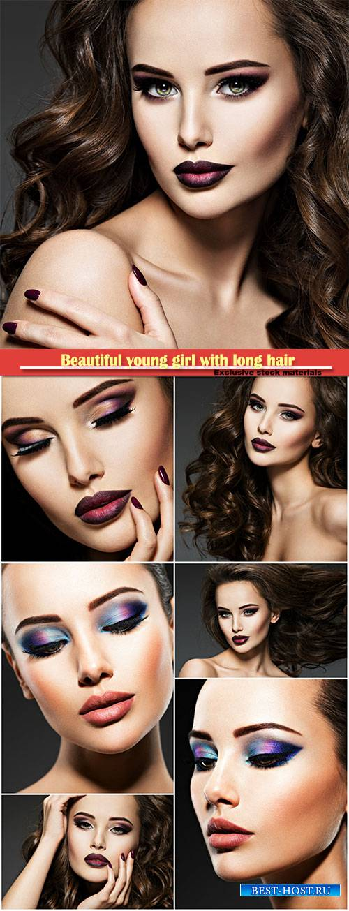 Beautiful young girl with long hair and fashionable makeup