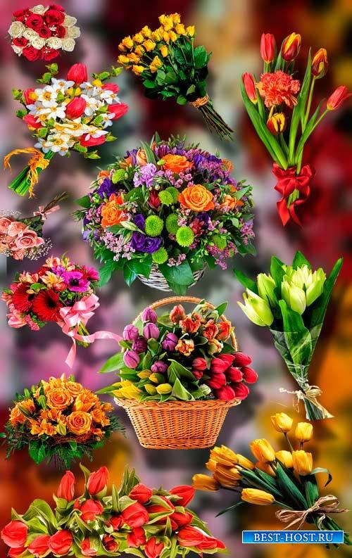Клип-арты для фотошопа на прозрачном фоне - Букеты из цветов
