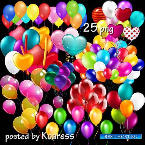 Клипарт png на прозрачном фоне - воздушные шарики, связки шаров - 1