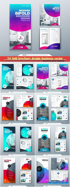 Tri fold brochure design business vector template
