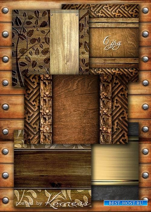 Деревянные фоны с резьбой и декоративными элементами