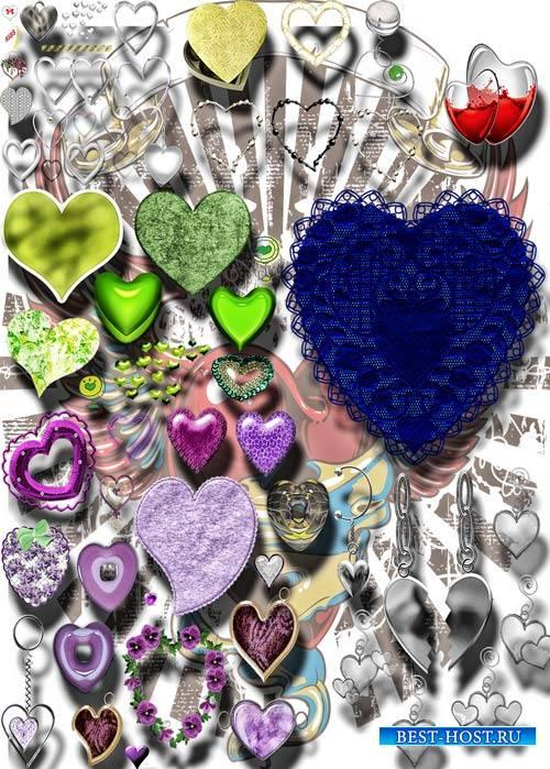 Фотошоп Png клипарты - Разноцветные сердечки