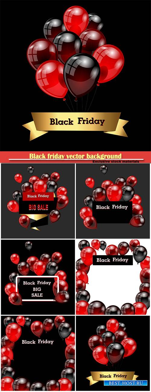 Black friday vector background with red and black balloons