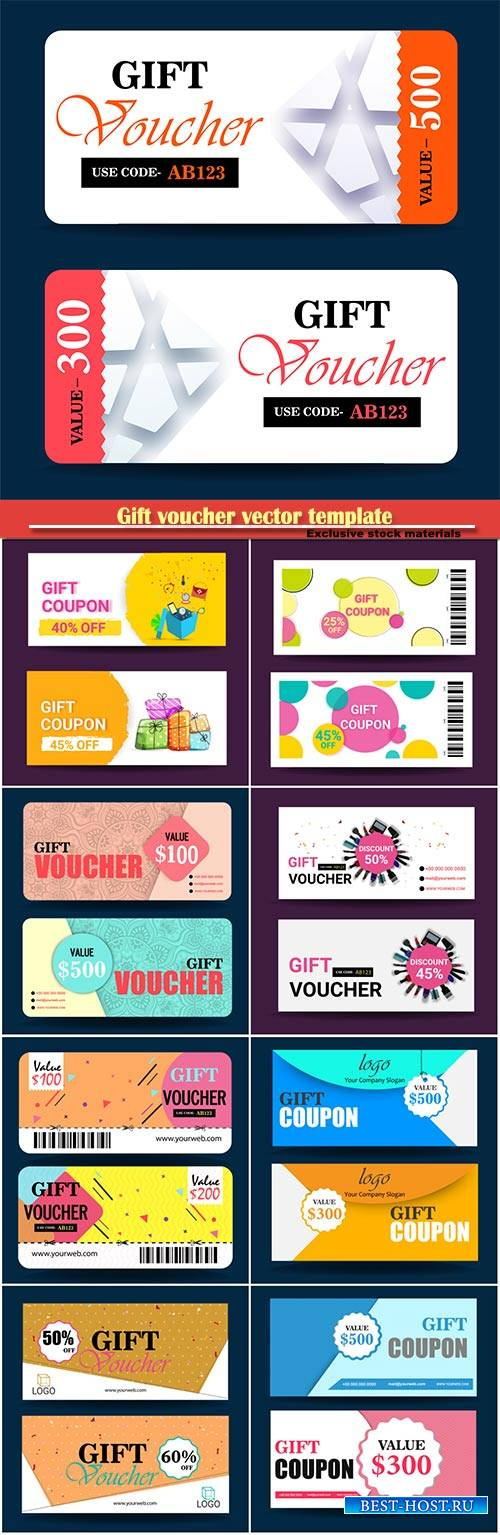 Gift voucher vector template, certificate, discount card