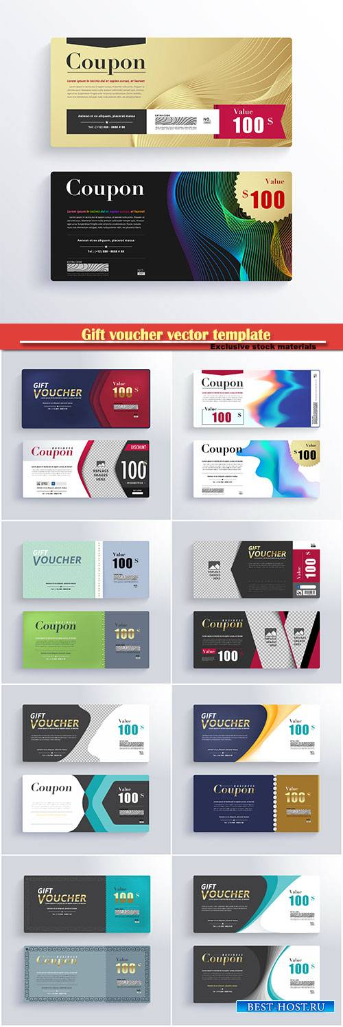 Gift voucher vector template, certificate, discount card # 2