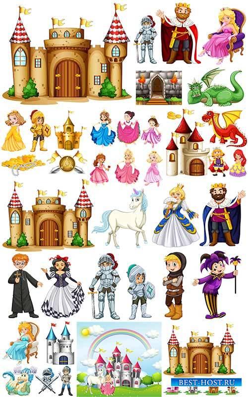 Сказочные принцессы и замки в векторе / Fairy-tale princesses and locks in  ...