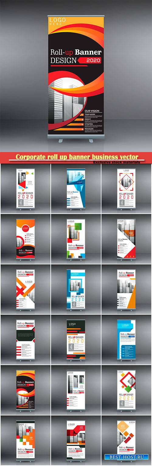 Corporate roll up banner business vector template # 3