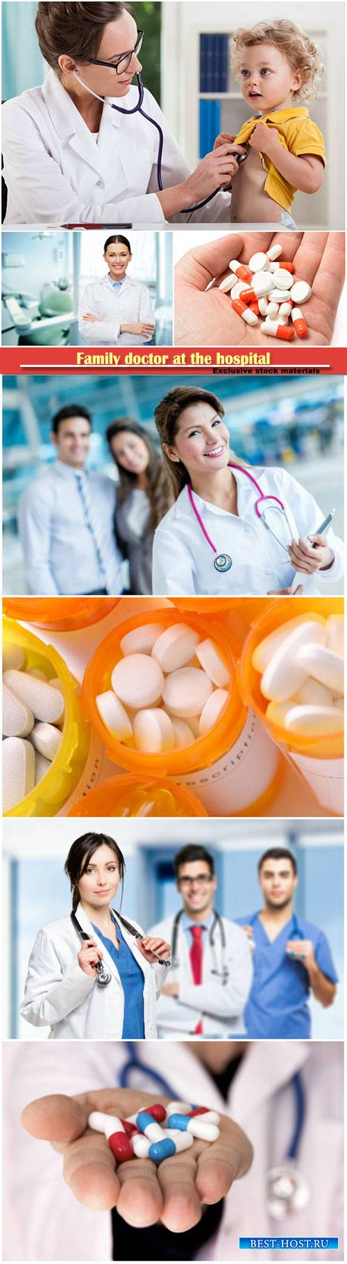 Family doctor at the hospital, pills close up