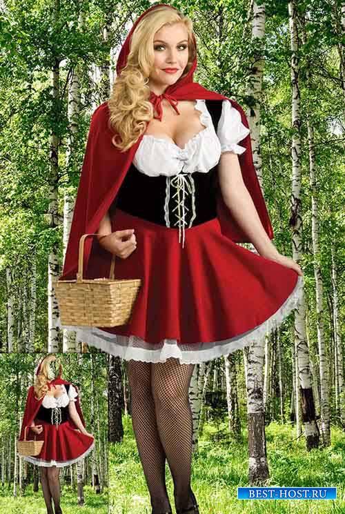 Женский фотошаблон - Красная шапочка в весеннем лесу