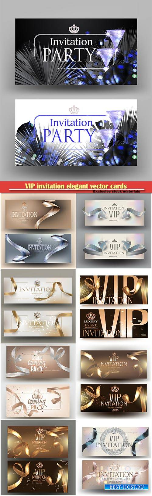 VIP invitation elegant vector cards with ribbons and pearl background