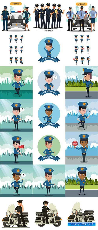 Полицейский в городе - Вектор / A policeman in the city - Vector