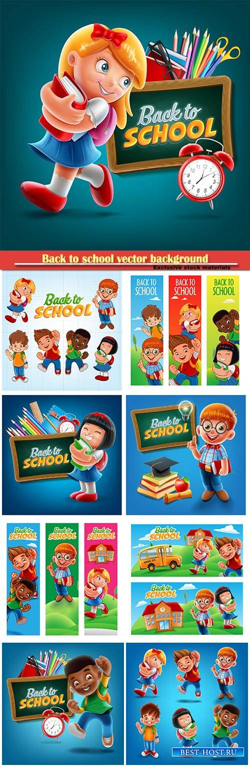 Back to school vector background, happy school children
