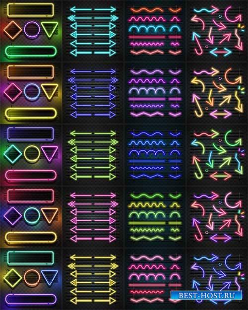 Стрелки и фигуры в неоновом цвете - Вектор / Arrows and figures in neon colors - Vector