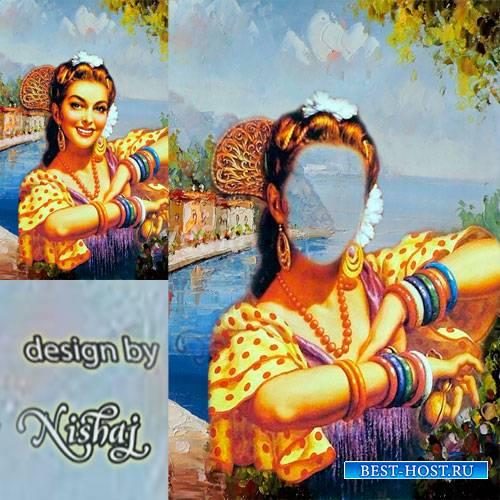 Женский фотошаблон для монтажа - Картина маслом. Прекрасная испанка