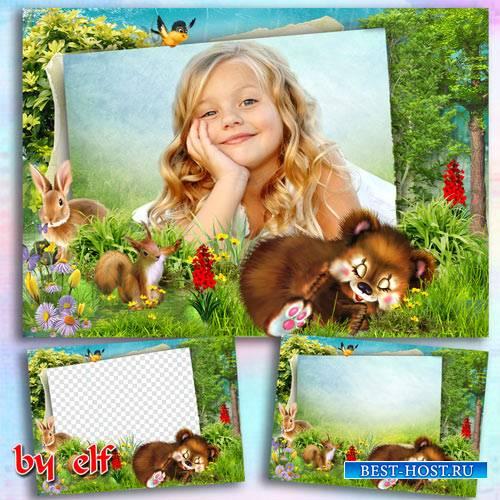 Рамка для детских фото - На лесной опушке собрались зверушки